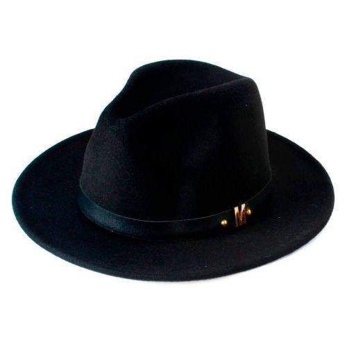 Chapéu Fedora de Lã Com Faixa de Couro Preto