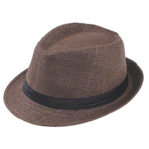 Chapéu Fedora de Palha Marrom Aba Curta