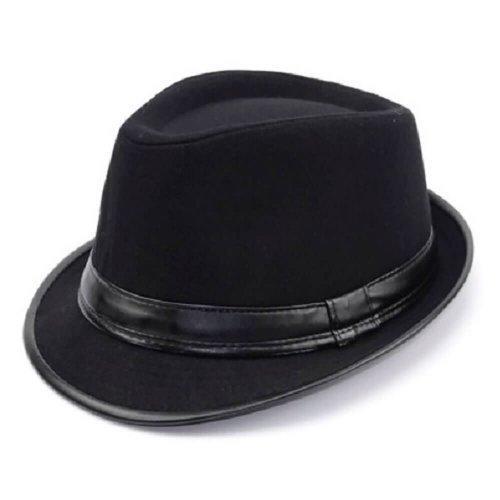 fe178e7e80d56 Chapéu Fedora de Lã Preta Aba Curta