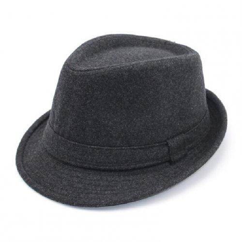 Chapéu Fedora Masculino Feltro de Lã Cinza Aba Curta 72af2eaf850