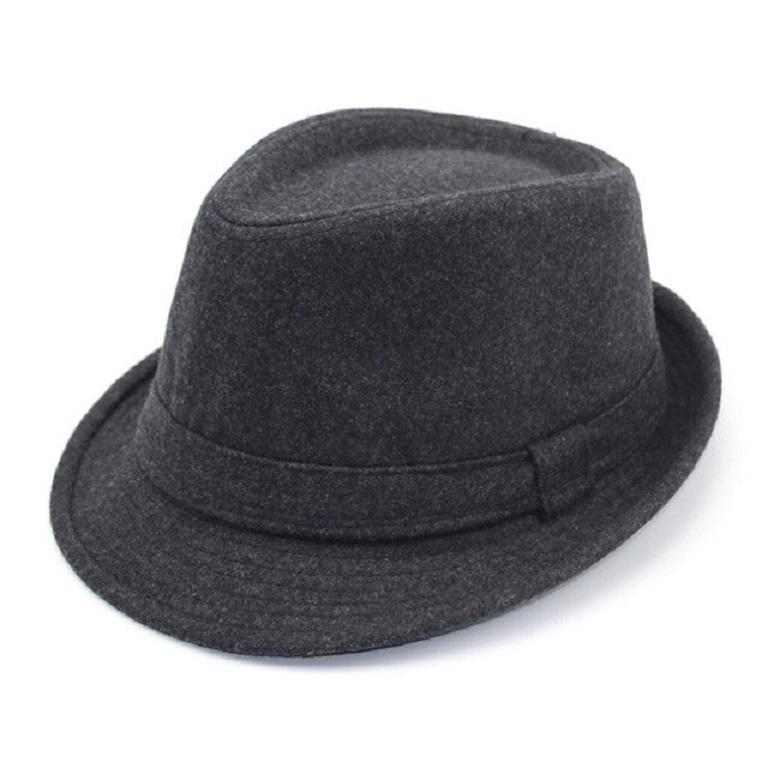 e90a221980fe9 Chapéu Fedora Masculino Feltro de Lã Cinza Aba Curta