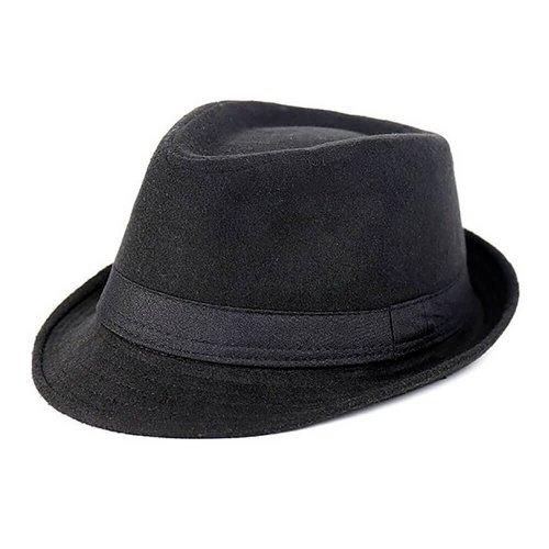 Chapéu Fedora Feltro de Lã Preta Aba Curta