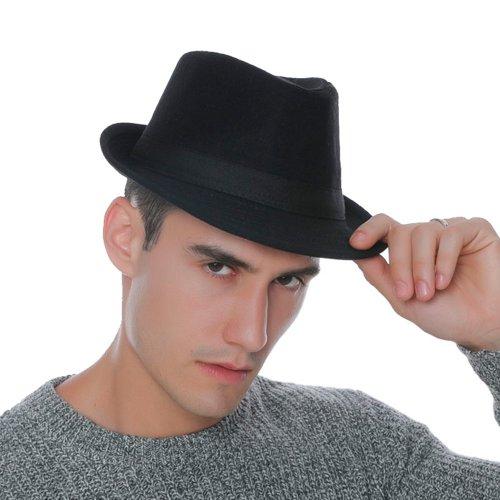 7c9b2363221fc Chapéu Fedora Masculino Feltro de Lã Preta Aba Curta