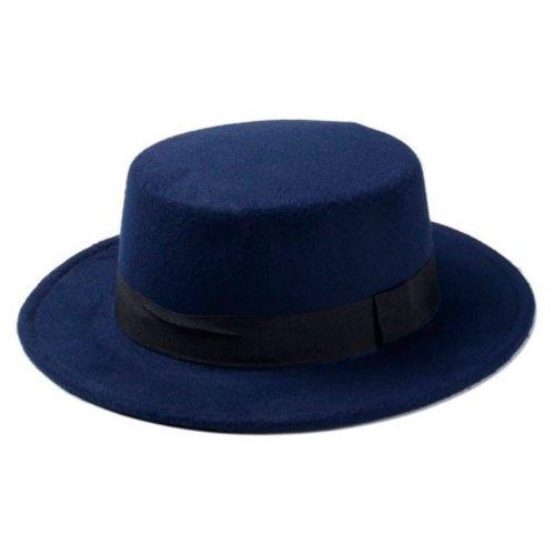 Chapéu Palheta de Lã Azul Marinho Com Faixa Preta