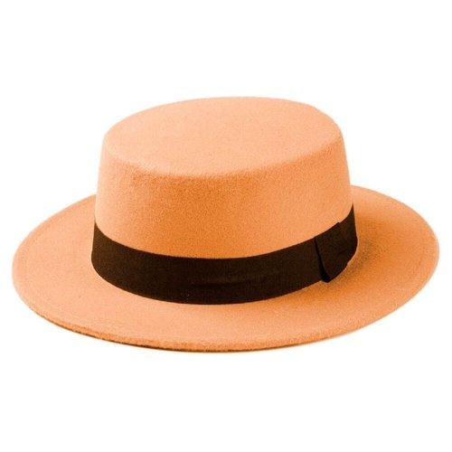 Chapéu Palheta de Lã Caramelo Com Faixa Preta