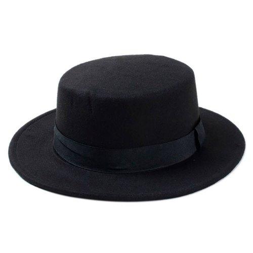 Chapéu Palheta de Lã Preta Com Faixa