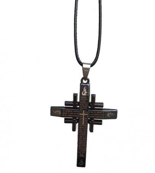 Colar Masculino Pingente Cruz Oração Pai Nosso