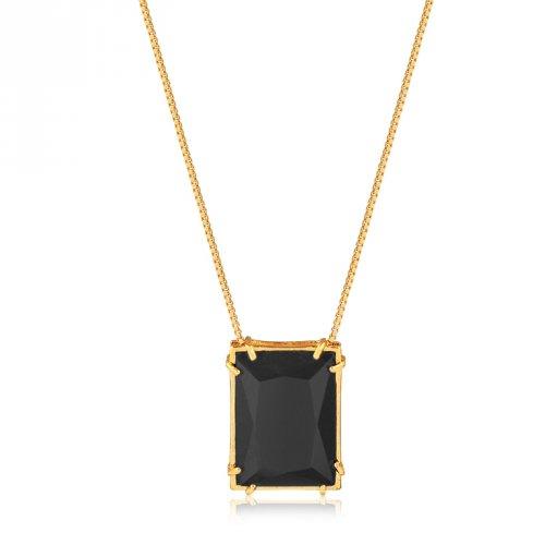 Corrente Banhada a Ouro 18k com Pedra Negra