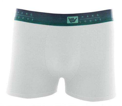 Cueca Boxer Cotton Com Elastico Sublimado Hang Loose Branca