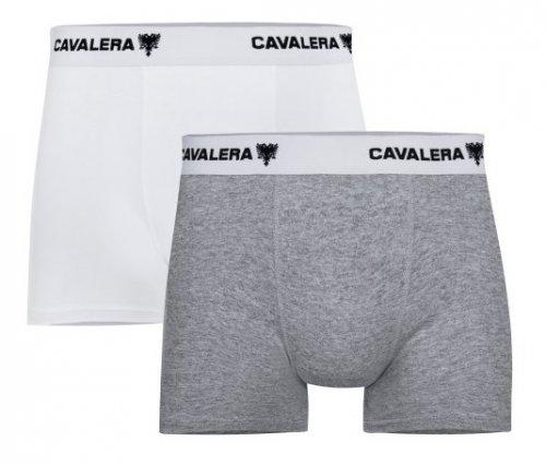 Kit Cueca Boxer Cavalera Algodão 2 Peças Branca e Cinza