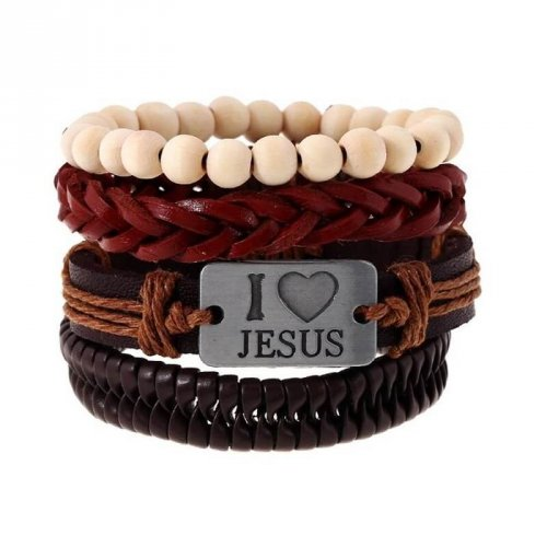 Kit de Pulseiras de Couro Masculina I Love Jesus