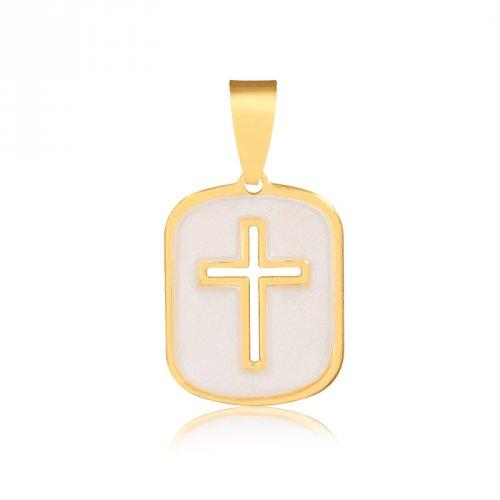Pingente Medalha Cruz Vazada