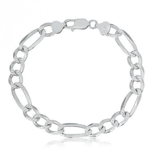 Pulseira de Prata Masculina Elos 3X1 Diamantada