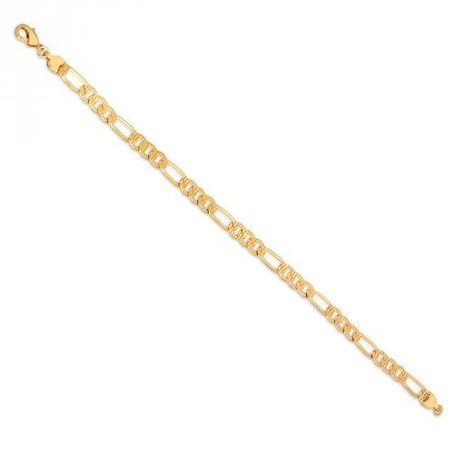 Pulseira Elo Grumet 3x1 Diamantada Banhada a Ouro 18k