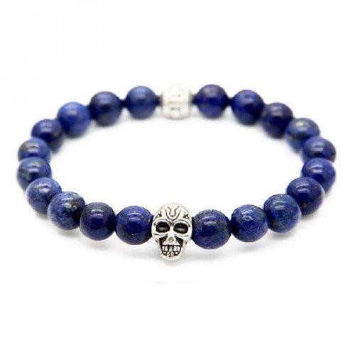 Pulseira de Pedra Lápis Lazuli com Caveira e Beads