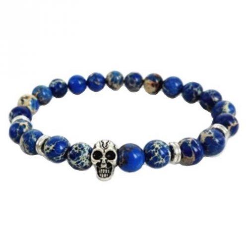 Pulseira de Pedra Lápis Lazuli com Caveira Prata