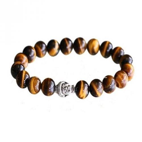 Pulseira Pedras Olho de Tigre e Buda em Prata