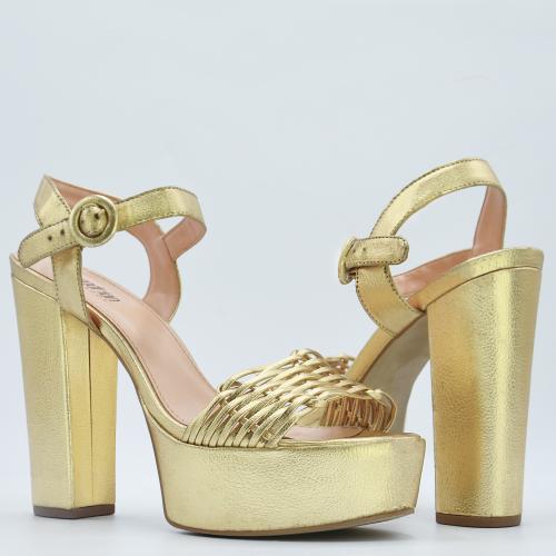 Sandalia Dourada Tressê Adine