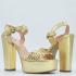 Miniatura - Sandalia Dourada Tressê Adine