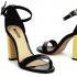 Miniatura - Sandália Preta com Salto Alto Quadrado