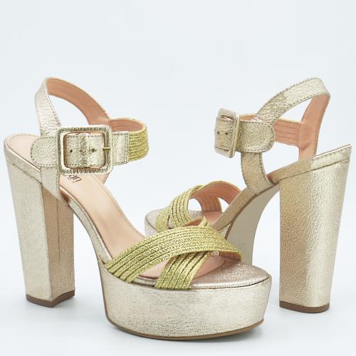 Sandalia Salto Grosso Dourada