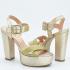 Miniatura - Sandalia Salto Grosso Dourada