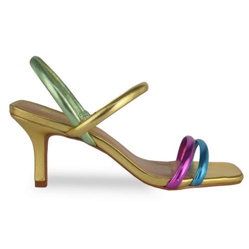 Sandália Tamanco Metalizado de Bico Quadrado
