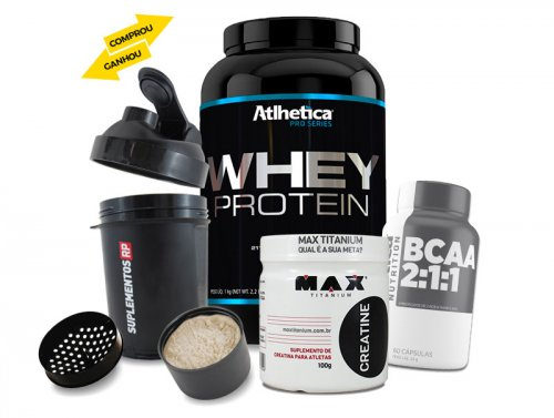 Kit com Whey Pro Series  (1kg) + Creatina (100g) + BCAA 2400 (60caps)