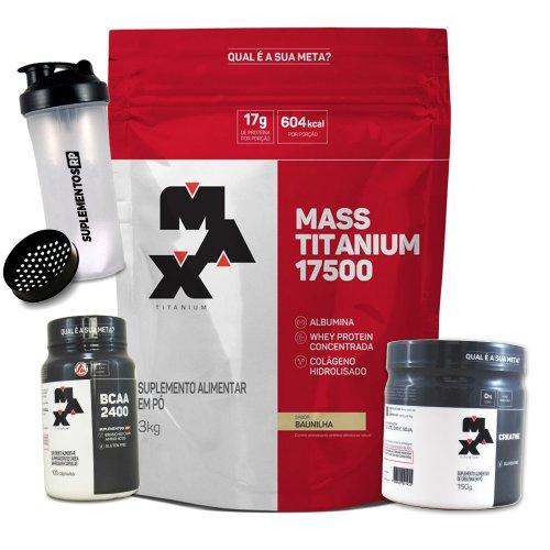 KIT MAX  MASS 3kg + CREATINA 150g + BCAA 2400 100 caps + BRINDE