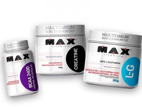Glutamina 300g + Creatina 150g + Bcaa 2,4g C/ 100 Caps Max Titanium