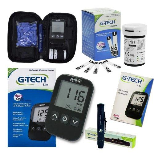 Kit Medidor Glicemia G-Tech + 10 tiras + 10 lancetas  Completo