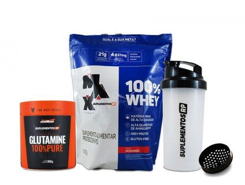 Whey 100%  + Glutamina (300g)  Grátis Shakeira
