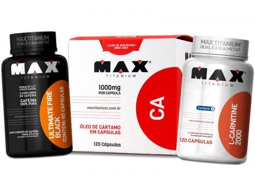 kit Emagrecimento Max - Fire Black Thermo  + Carnitina + Óleo de Cártamo