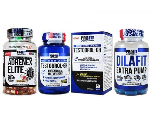 Ciclo Testosterona Seco Fibrado: Adrenex + Testodrol + Dilafit