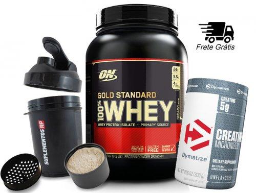 Kit Gold Optimun Nutrition 2lb + Creatina 300g Dymatize - Shaker