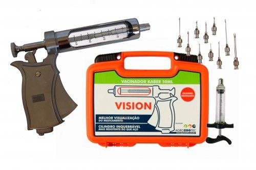 Kit Pistola de vacinação Kaber Vision / seringa para vacinar gado com agulhas