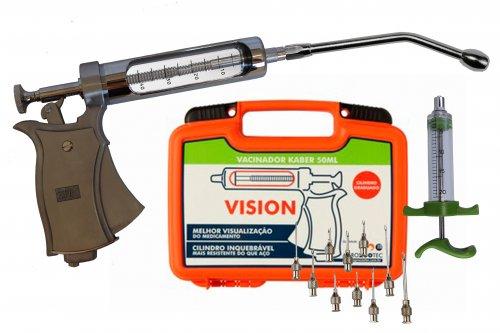 Kit Pistola de vacinação Kaber Vision / seringa para vacinar gado com cânula e agulhas