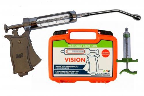 Kit Pistola de vacinação Kaber Vision / seringa para vacinar gado com cânula